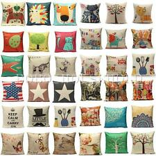 Cotton Linen Vintage Various Colorful Waist Throw Pillow Case Sofa Cushion Cover
