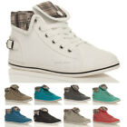 WOMENS LADIES FLAT CUFF LACE UP ANKLE HIGH HI TOP PUMPS TRAINERS SHOES SIZE