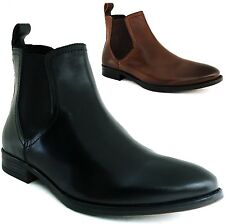 Mens Chelsea Boots Slip On Ankle Loafers Leather Comfort Casual Dress Shoes New