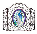 WHITE & BLUE PEACOCKS * FIREPLACE SCREEN with interchangeable GLASS ART PANEL