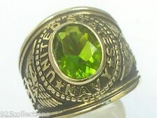12x10 mm United States Navy Military August Peridot Stone Men's Ring Size 7-14