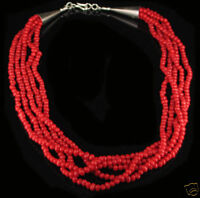 QVC Sterling Silver 5 Strand Natural Red Coral Necklace