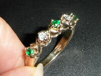 L71 LADIES 9CT GOLD 5 GREEN AND CLEAR STONE GEM SET HALF ETERNITY RING