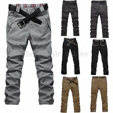 PODOM Mens Slim Fit Straight Jeans Plain Trousers Casual Skinny Pencil Pants