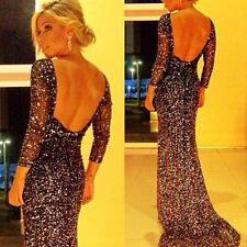 Sexy Mermaid Long Black Sequins Formal Evening Celebrity Dresses Prom Ball Gowns