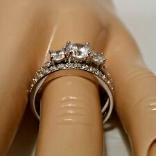 Sterling Silver wedding set CZ Round cut Engagement Ring size 4-11 Bridal New c8