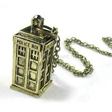 Stylish 3D Doctor Who TARDIS Police Box Tall PENDANT Long Chain Necklace New A93