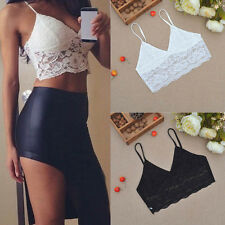 S-4XL Sexy Women Lace Crop Top Strap Blouse Vest Bra Shirt Beach Trendy Tank HOT