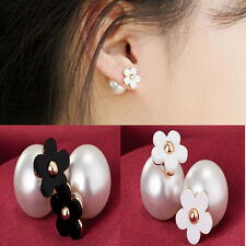 Runway Flower Pearl Double Earrings Ear Stud Women Fashion Jewelry