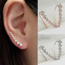 Women Fashion Rhinestone Crystal Earrings Ear Hook Stud Gold Silver Jewelry Gift