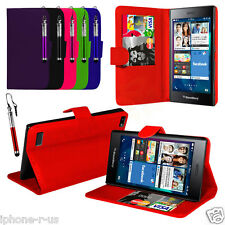 Leather PU Stand Wallet Case Cover, LCD Film & Stylus Pen For BlackBerry Leap