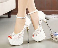 Lace Style Wedding shoes Ankle Wedding Shoes Open Toes Stilettos High Heels