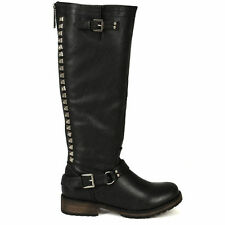 Womens Studded Knee High Riding Boots PU-Leather Buckle Combat Military Fashion