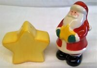 CHRISTMAS FESTIVE SANTA & STAR SALT & PEPPER POTS CONDIMENT OR CRUET SET