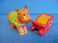CHRISTMAS FESTIVE REINDEER & SLEIGH SALT & PEPPER POT CONDIMENT OR CRUET SET