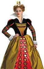 Adult Alice in Wonderland Red Queen Of Hearts Costume S 4-6, M 8-10, L 12-14