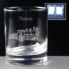 2 x PERSONALISED STEAM TRAIN 236.6ml WHISKY GLASSES IN SATIN LINED BOX ENGRAVED