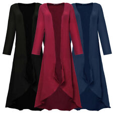 Womens Ladies Full Sleeve Floaty Front Open Cardigan Maxi Long Flare Coat Jacket