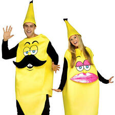 Mr and Mrs Banana Adults Fancy Dress Pair Couple Food Womens Ladies Mens Costume