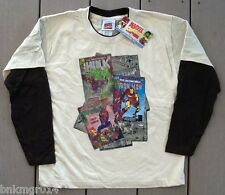 NWT Toddler Marvel Hero Comic Book Covers Tan Shirt w/Brown L/S Size 3T