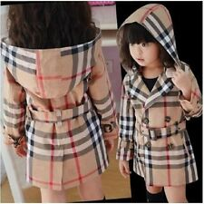 New Baby Girls Plaids & Checks Coat Hooded Beige Trench Jacket Outwear With Belt