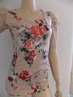 Boho Pretty Beige Floral Print Skinny Summer T Shirt Top NEW Size 6 8 10