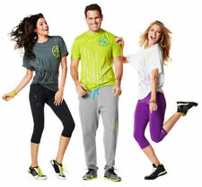 ZUMBA FITNESS Ready To Party Tee GREEN GRAY WHITE T-shirt - NEW!!!