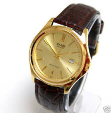 New Casio Men Gold Watch Date Gold Face Brown Leather Band