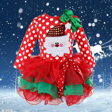 New Baby Girls Santa Clause Dress Red Pageant Party Christmas Polka Dot Dress