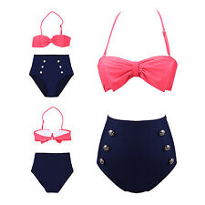 Vintage Retro High Waisted BOW Bikini Set Push up Padded Swimwear Swimsuit