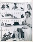 1957 Actor Sculptor Noah Beery With Western Figurines He Sculpted Press Photo