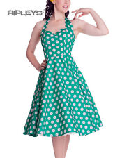 HELL BUNNY Polka Dot 50s Dress MARIAM Pin Up Green White All Sizes