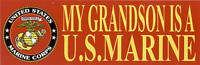 2 TWO MY GRANDSON IS US MARINE BUMPER STICKER DECAL ZAP MOM DAD SON DAUGHTER WOW