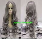 New wig Heat Resistant Cosplay Long Gray Curly wig Halve Women's Wig