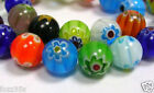 100 x 6mm Millefiori Round Flower Pattern Glass Beads Mixed Designs - GB38