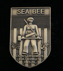 FIGHTING SEABEES HAT LAPEL PIN UP WWII US NAVY USS SEA BEE BADGE VETERAN GIFT