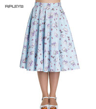 Hell Bunny 50s AMELIA Skirt Cute Kittens & Hearts Skirt ~ Blue All Sizes