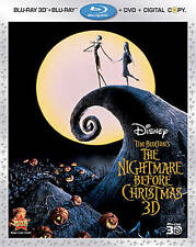 The Nightmare Before Christmas 3D (Blu-ray/DVD/3D/Dig 2011, 3-Disc) NEW Disney
