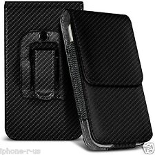 Black Carbon Fibre Leather Pouch Belt Clip Case Cover For Various ASUS Phones