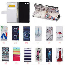 Cartoon Painting Leather Folio Wallet Case Cover Pouch For LG Mobile Phones 05