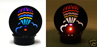 69036 Mini Black Hot Air Balloon Metal Tealight Candle Holder Stained Glass