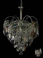AMAZING CHANDELIER WITH REAL LEAD CRYSTALS *GOLD OR SILVER* MATCHING WALL LIGHTS
