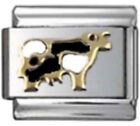 COW BLACK WHITE Enamel Italian Charm 9mm Link - 1 x AN007 Single Bracelet Link