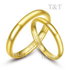 T&T 3mm 14K Gold GP 316L Stainless Steel Wedding Band Ring Gold For Couple