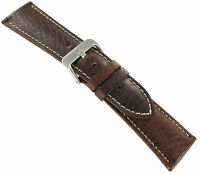 28mm Hadley Roma Brown Padded Stitched Genuine Leather Mens Watch Band 906