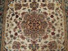 IVORY FLOWRAL LOV HAND KNOTTED RUG WOOL SILK CARPET 6X4
