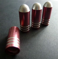 Pink Alloy Bullet Dust Tyre Valve Caps for Peugeot 106 206 306 107 207 307 208