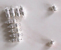 10 silver plated long magnetic clasps, findings for jewellery making crafts