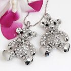 1X Silver Plated Cute Crystal Rhinestone Bear Charm Pendant for Necklace Gift