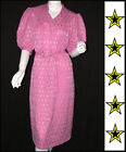 Puff Sleeve Vintage 80's Candy Pink Diamond Disco Dress